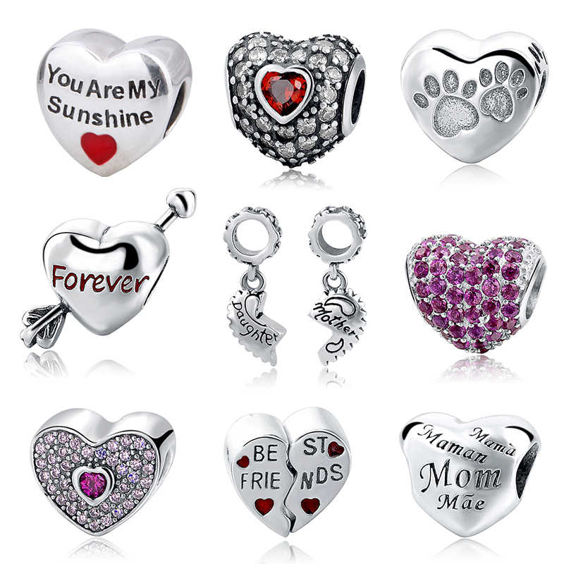High quality genuine 925 Sterling Silver Love Hearts Charms beads Fit Authentic Pandora Bracelet beads jewelry making lover Gift
