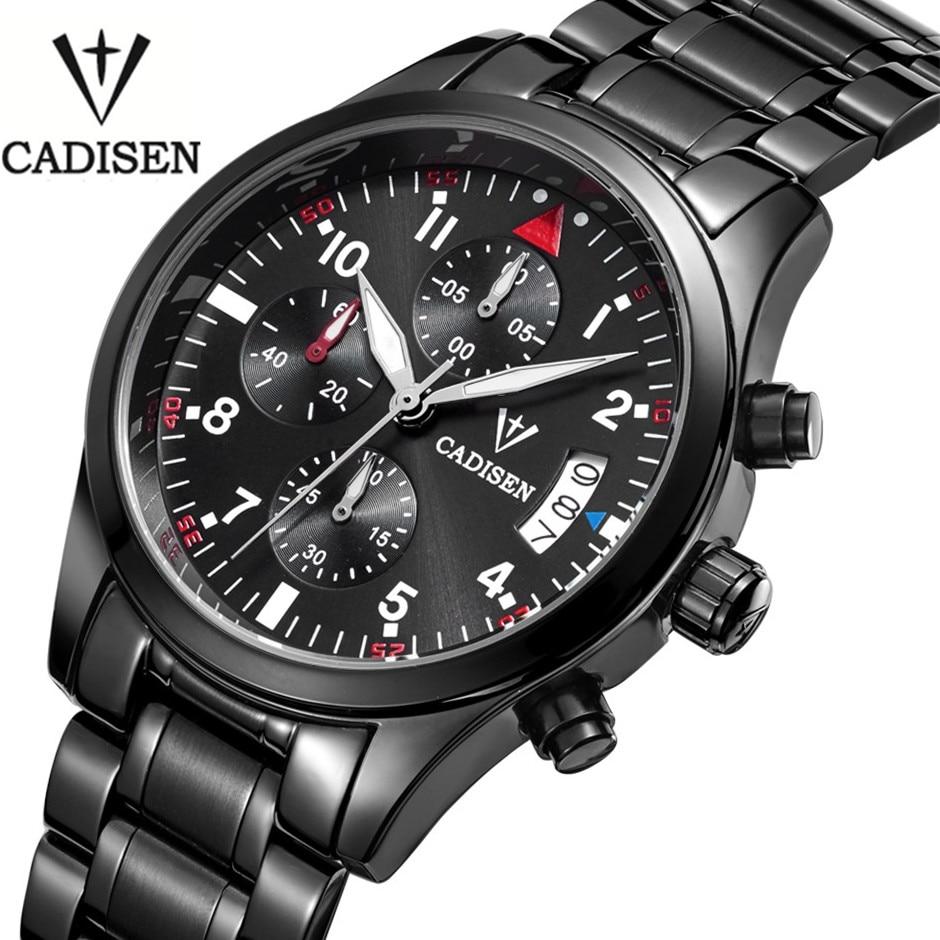 2017 Luxury Brand Cadisen Chronograph Analog watches Mens Quartz Clock Fashion Casual Sports Business Men Military Wrist Watch <br><br>Aliexpress
