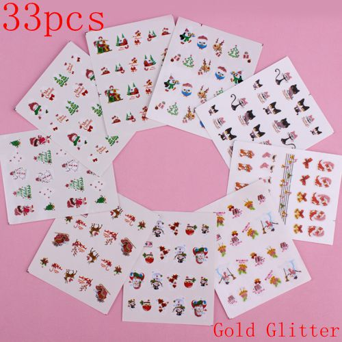 33pcs Christmas Nail Art Water Decals Gold Glitter Nail Stickers For Kids Nail Decoration(China)