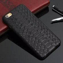 Luxury Python Case For iPhone 6 Plus iPhone6 6s 5.5 4.7 Cell Phone Genuine Cowhide Leather Snake Skin Pattern Back Cover Case(China)