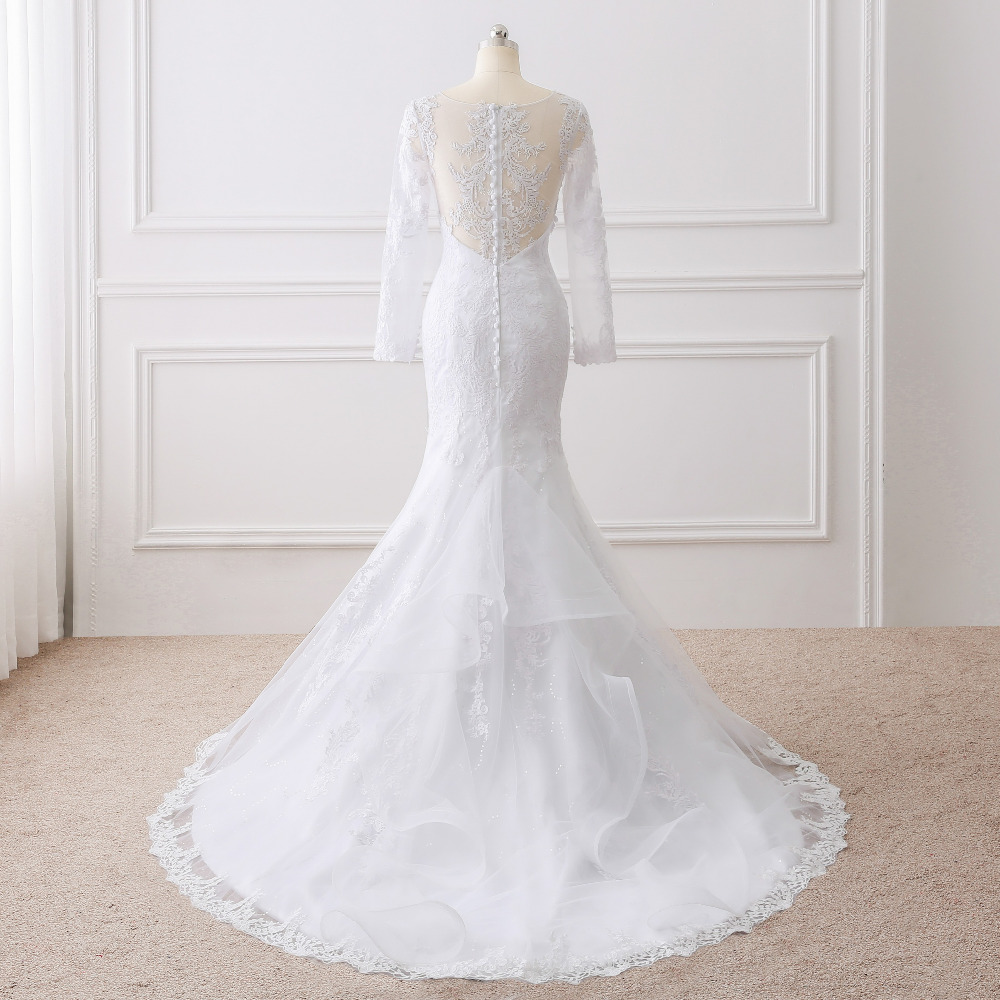 Lover Kiss Vestido De Noiva 2017 Elegant Wedding Gowns Bridal Dresses Popular Vintage Mermaid Long Sleeves Lace Wedding Dress 2