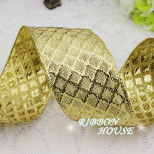 (2 meters/lot) 40mm Gold polyester ribbons Christmas packaging ribbon high-grade quality squares ribbon wholesale