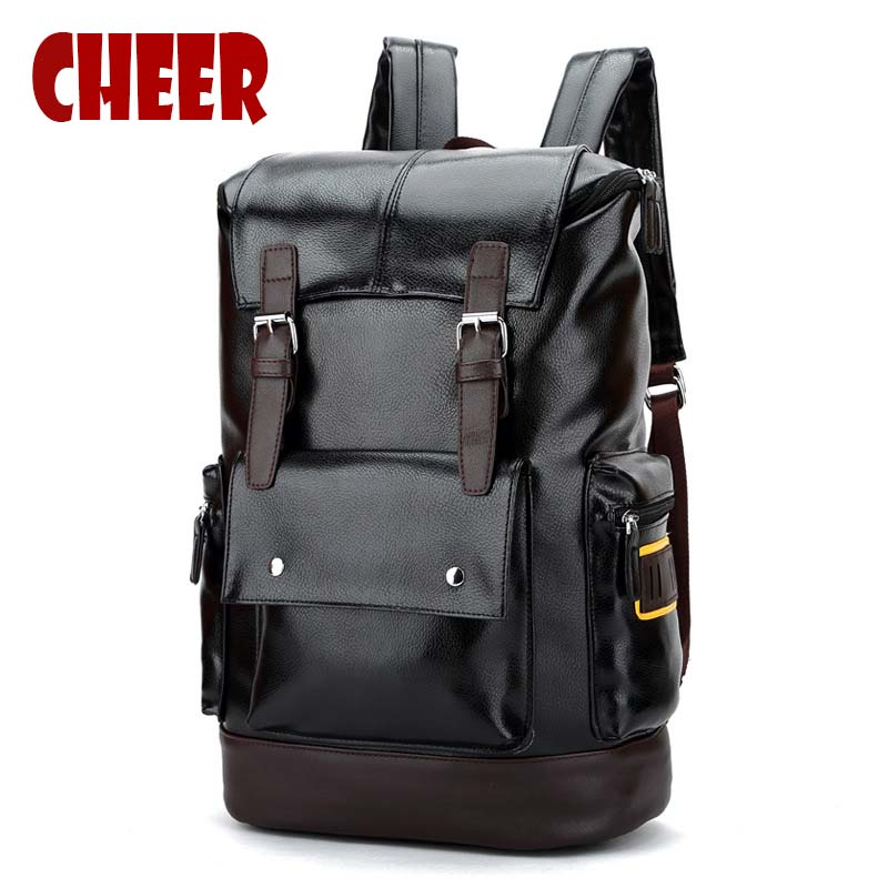 2017 New high quality PU leather men backpack shoulder bag Schoolbag computer Travel bag men women Waterproof Luxury Backpacks<br>