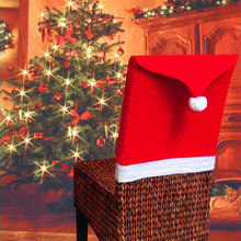 Christmas Chair Covers Santa Clause Red Hat for Dinner Decor Home Decorations Christmas Ornaments Supplies Wholesale(China)