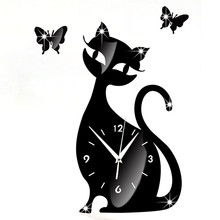 Cute Cat Mirror Black Wall Clock Modern Design Home Decor Watch Wall Sticker For Living Room Bedroom Decor Accessories Posters(China)