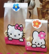 24pcs/lot 2 size hello kitty and little rabbit plastic bags  packaging bags pouches wrappers cupcake