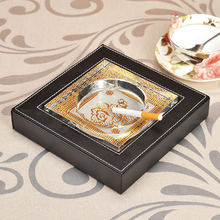 Small size Home Office Decor Art Portable Square Pu Leather Ashtray Crystal Cigar Cigarette Ash tray smoke holder smoking case(China)