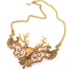 Christmas Necklace -NFS- NEW Vintage Gold Silver Metal Hollow Christmas Deer Necklace .Available Colors: Gold, Silver. #1516430