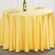 Solid Color Wholesale Multi Size Polyester Wedding Tablecloths Jacquard Round Table Cloth Hotel Decor Table Dining Table Cover