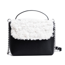 2017 Fur Women Handbags brand designer PU Leather Crossbody Bags For Women patchwork chain shoulder bags metal hadle flap bags(China)