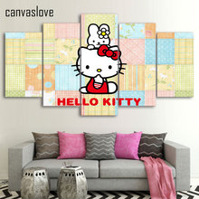 HD Printed Cartoon hello kitty Group Painting wall art Canvas Print room decor print poster picture canvas/ny-179