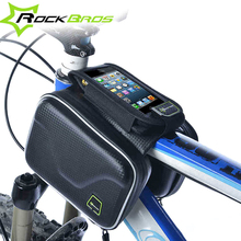 RockBros Bicycle Cycling Pannier Cell Phone Smartphone Case Bag Carbon Pattern Waterproof Bike Frame Front Head Top Tube Bag(China)