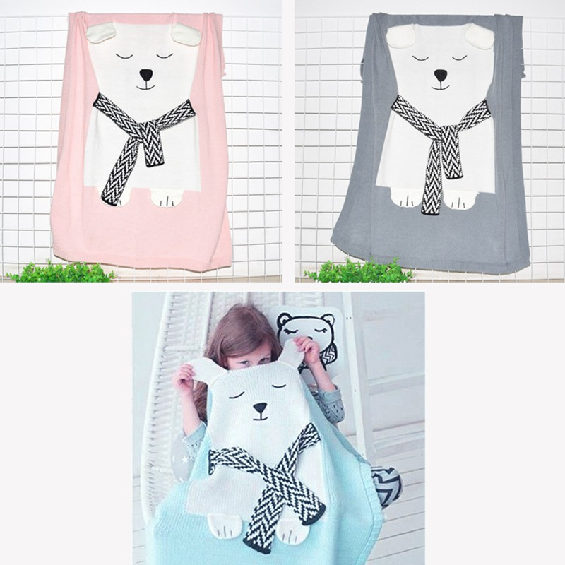 MOTOHOOD Cute Bear Cotton Baby Blankets Newborn Fashion Knitted Muslin Swaddle Wrap Baby Decoration Room Photography Accessories (3)