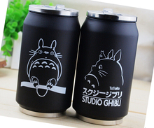 Creative Cartoon Totoro Straw Vacuum Cup Stainless Steel Thermos Mug Thermal Bottle Thermocup 300ml 1pc