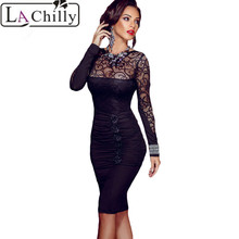 Buy La Chilly Vestido de festa Sexy Floral Applique Lace Bodycon Midi Dress LC60820 Elegant Long Sleeve Charming Office autumn Dress for $14.77 in AliExpress store
