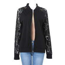 2017 Bomber Jackets Autumn Casual Women Long Sleeve Black Lace Jacket Coat Outwear Zipper Chaquetas Mujer Plus Size embroidery(China)