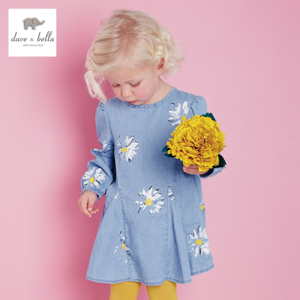 DB2032 dave bella autumn spring baby girls dress infant clothes  toddle dress baby daisy print dress kid 1 pc fashionable<br>