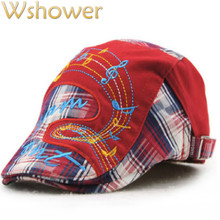 Red Royal Blue Orange Embroidery Music Character Children Plaid Berets Hat Boy Girl Visor Hat Kids Baby Newsboy Flat Cap Bone(China)