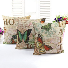 ZHH ZHH Retro Butterfly Cushion Cover French Seat Cushion Nap Pillow Cushion Sofa Decor 3 Color New Arrived(China)