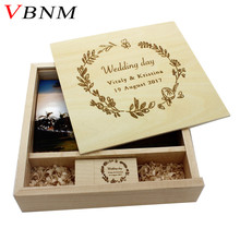 VBNM (1 PCS free LOGO) Photography walnut Photo Album usb + Box usb flash drive U disk Pendrive 8GB 16GB 32GB 64GB Wedding GIFT(China)