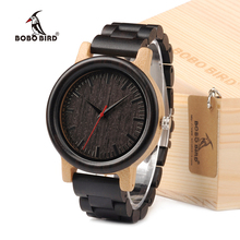BOBO BIRD M18 Ebony Wood And Bamboo Watch Analog Men Wristwatch With Japan Movement Customized For Gift(China)