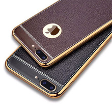 Electroplating TPU + PU leather back cover case for Apple iPhone 7 7plus 4.7'' and 5.5'' luxury black and Brown
