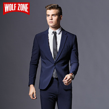 Top Fashion Formal Business Blazer Men Groom Three Pieces Brand Mens Suit Jacket Slim Fit Clothing Single Button Wedding Dress(China)