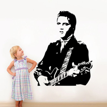 handsome Elvis Presley play guitar wall decals for living room home decoration rock music wallpaper fans gift vinyl wall sticker