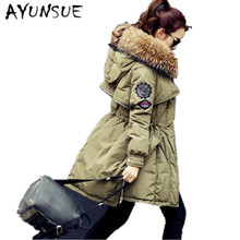2017 Brand Raccoon Fur Winter Coat Women Long Duck Down Army Green Abrigos Mujer Parka North Veste High Quality Jacket WD0151