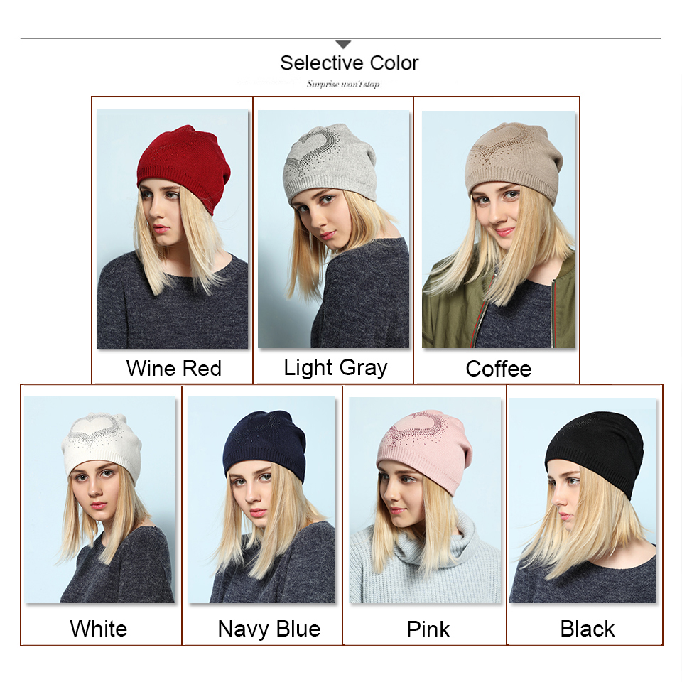 Ralferty 2018 Winter Women's Hats Wool Knitted Beanies Casual Double Layer Thick Warm Hats For Women Ski Cap bonnet femme gorros 15