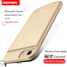 Ultra Slim NOHON External Battery Charger Case For iPhone 6 6S 7 Portable Backup Battery Case 2500mAh Wireless Power Bank Cover(China)