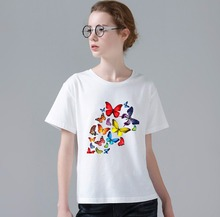Summer Colorful Butterfly T Shirt Women Beautiful Spring Good Quality Brand Casual T-shirt Cool Tops W409