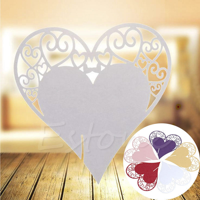 50Pcs Heart Shape Place Card Wedding Birthday Party Wine Glass Table Decoration-F1FB