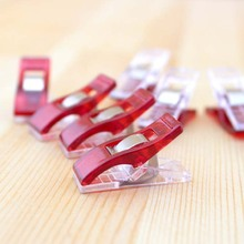 50 pcs/lot Red PVC Plastic Binder Clips Cute Mini 2.7*1cm Office Clip for Patchwork Sewing DIY Crafts Paper Stationery School(China)