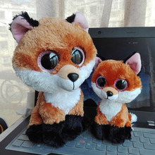 2pc/Lot 25cm&15cmTy Beanie Original Slick Brown Fox Plush Toy Stuffed Animal Kids Toy  Birthday Gift Big Eye Doll Graduation