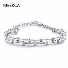 Charm AAA+ cube 1 carat Cubic Zirconia Tennis bangles for Woman Pulseira de Prata Classic Wedding Jewelry Lady Bracelet(China)