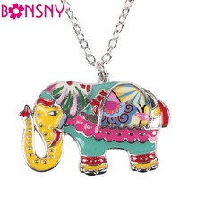 Bonsny Enamel Elephant Necklace Pendant Zinc Alloy 2016 News Accessories Metal Animal Style Girls Woman Fashion Jewelry