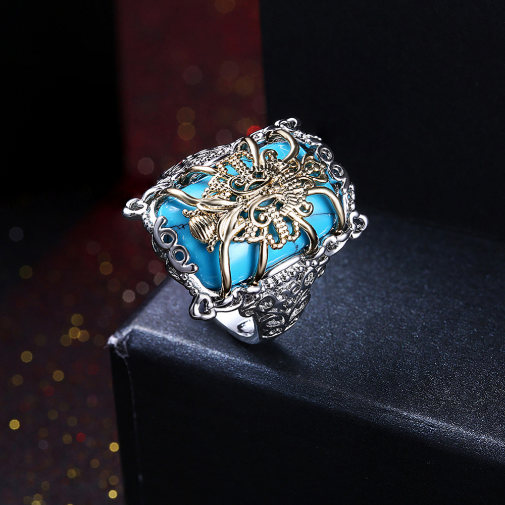 Shining 925 Silver Turquoise With Golden Flower