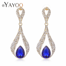 AYAYOO Green Dangle Earring Gold Color Imitation Crystal Variety Of Colors Chandelier Fashion Earrings Woman Wedding Jewelry