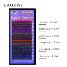 LAUKISS 12Rows Orange Purple Blue Rainbow Color Eyelashes 11mm C D Curl Russian Cilia Professional Rainbow Eyelashes Extension