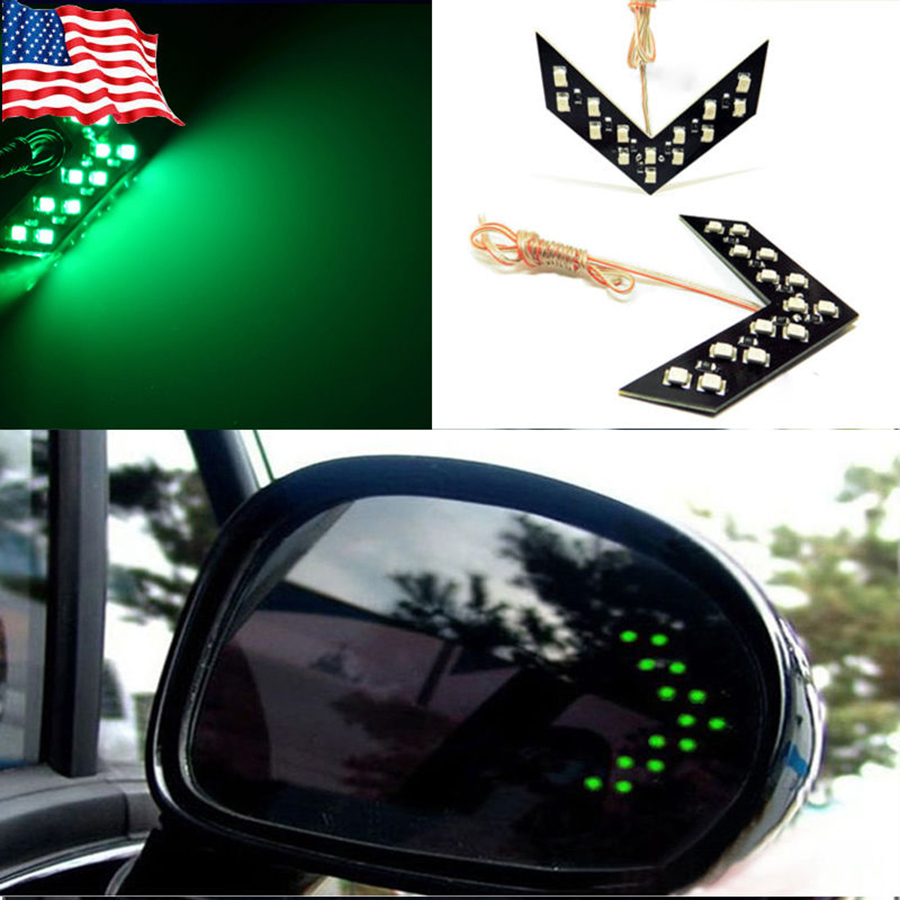 2X New Car styling 2PCS 14 SMD LED Arrow Panels Light Car Side Mirror Turning Signal Indicator Light Car LED External Parking<br><br>Aliexpress