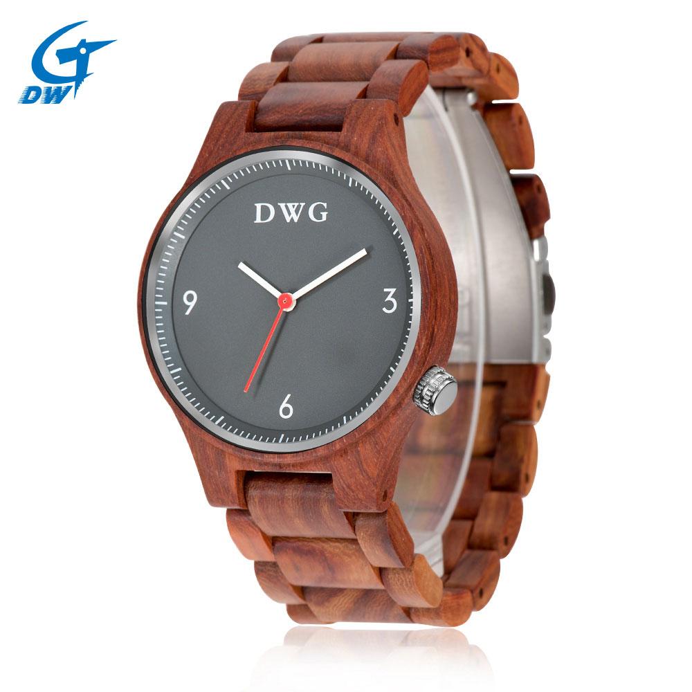 DWG Mens Watch Quartz Movement Wood Wristwatch Retro Red Sandalwood Male Wooden Strap Hand Fashion Man Clock Relogio Masculino<br>