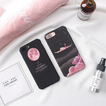 Space Moon plane phone Cases For iphone x 6 6s 6plus 7 7Plus 8 8plus Scrub hard PC case back cover for iphone 6 case(China)