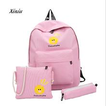 2018 New Fashion Women Backpacks 3PC Canvas Cute Duck Cartoon Shoulder Bags Backpack Girls Travel Bag Backpack Best Deal Bags(China)