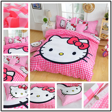 Hello Kitty Bedding Set 3-4pcs bed linen Include Duvet Cover Bed Sheet Pillowcase for Children Kids gift twin full queen size