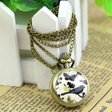 Antique Vintage Retro Quartz Butterfly Bird Pendant Chain Necklace Pocket Watch #T50P# Drop ship(China)