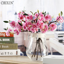 Artificial cherry blossom flower small single branch cherry exquisite wedding flower decoration for home office table accessorie