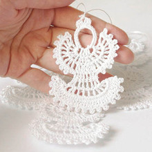 Crochet Christmas angels Hanging Christmas ornaments White crochet angels Christmas tree decorations Set of 12(China)