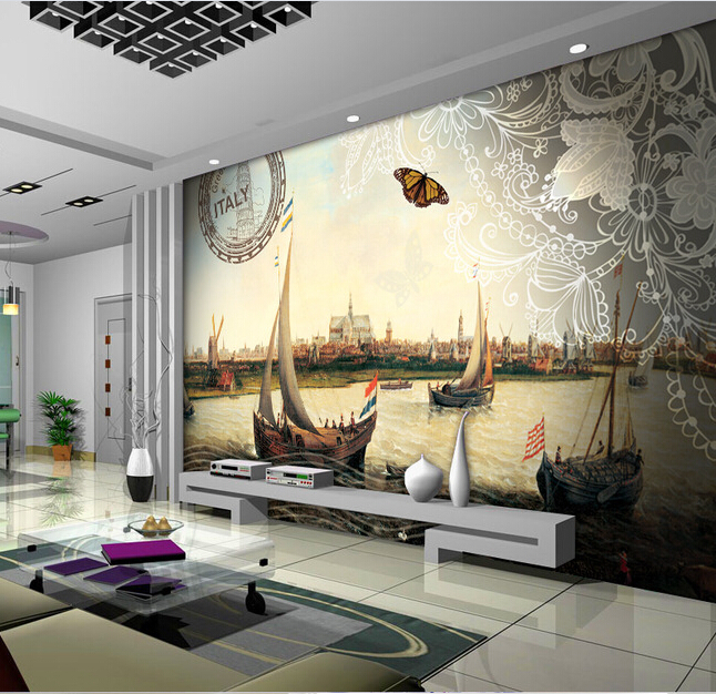 Custom Italian wallpapers,Venice city sailing windmills used in the sitting room bedroom TV wall waterproof papel de parede<br>