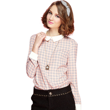 10 patterns 2016 Newest design women chiffon shirts sequined collar long sleeve vogue ladies summer blusas fashion girls blouse